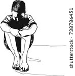 vector art drawing of lonely... | Shutterstock .eps vector #738786451