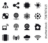 16 vector icon set   share ... | Shutterstock .eps vector #738787615