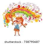 the girl draws large blobs with ... | Shutterstock .eps vector #738790687