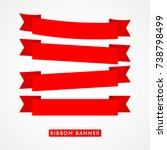 ribbon text logo vector... | Shutterstock .eps vector #738798499
