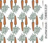 hand drawn carrot sketch... | Shutterstock .eps vector #738801319