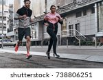 out for a run. full length of... | Shutterstock . vector #738806251