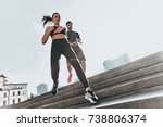 working out on the stairs. low... | Shutterstock . vector #738806374