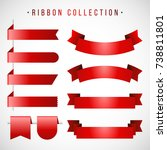 red ribbon collection with... | Shutterstock .eps vector #738811801