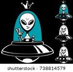 cartoon alien king in his...   Shutterstock .eps vector #738814579