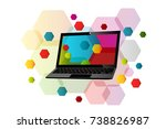 laptop concept with laptop... | Shutterstock .eps vector #738826987