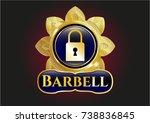 golden badge with closed lock... | Shutterstock .eps vector #738836845