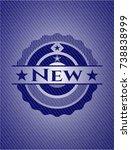 new emblem with denim texture | Shutterstock .eps vector #738838999