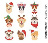 Stock vector christmas dogs faces collection vector illustration of funny cartoon different breeds dogs in 738843754