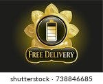 gold emblem or badge with... | Shutterstock .eps vector #738846685