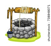 cartoon old stone well with a... | Shutterstock .eps vector #738848071