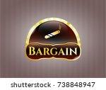 golden emblem with joint ... | Shutterstock .eps vector #738848947