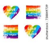set of lgbt pride slogan... | Shutterstock .eps vector #738849739