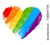 grunge heart in rainbow color.... | Shutterstock .eps vector #738849745