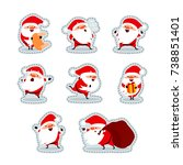 santa claus stickers. christmas ... | Shutterstock .eps vector #738851401