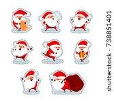 santa claus stickers. christmas ... | Shutterstock .eps vector #738851401
