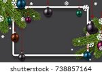 new year background with spruce ... | Shutterstock .eps vector #738857164