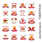 meat  chicken  sausage labels... | Shutterstock .eps vector #738859534