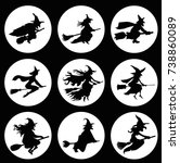 witches silhouette set | Shutterstock .eps vector #738860089