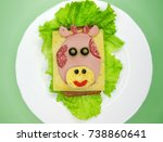 creative sandwich snack with... | Shutterstock . vector #738860641