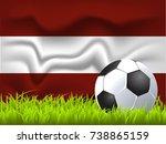 latvia flag and soccer ball   Shutterstock .eps vector #738865159