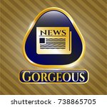 golden emblem with newspaper...