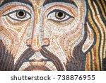 jesus christ in a modern mosaic ... | Shutterstock . vector #738876955