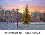 Stock photo christmas at the museumplein in amsterdam netherlands at twilight 738878425