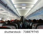 passenger cabin in flight with... | Shutterstock . vector #738879745