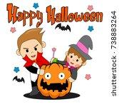 boy and girl in halloween.... | Shutterstock .eps vector #738883264