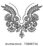 neckline embroidery fashion | Shutterstock .eps vector #73888726