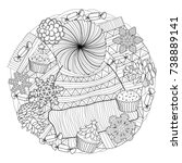 christmas coloring page   Shutterstock .eps vector #738889141