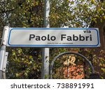 via paolo fabbri street sign in ... | Shutterstock . vector #738891991