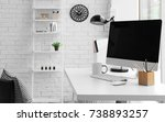 comfortable workplace with... | Shutterstock . vector #738893257