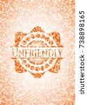 unfriendly orange mosaic emblem | Shutterstock .eps vector #738898165