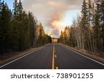 mountain highway with a forest... | Shutterstock . vector #738901255