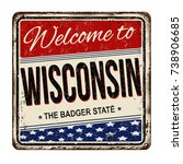 welcome to wisconsin vintage... | Shutterstock .eps vector #738906685