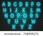 turquoise neon character font... | Shutterstock .eps vector #738909271