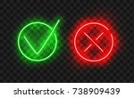 tick icon set. stylish neon... | Shutterstock .eps vector #738909439