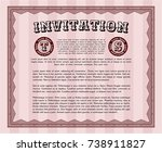 red vintage invitation. money... | Shutterstock .eps vector #738911827