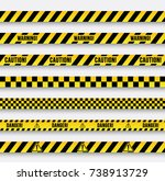 danger and police line. yellow... | Shutterstock .eps vector #738913729