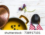 pumpkin soup with seed in... | Shutterstock . vector #738917101