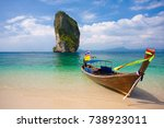 long tail boat on poda island... | Shutterstock . vector #738923011
