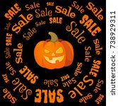 sale banner to halloween.... | Shutterstock .eps vector #738929311