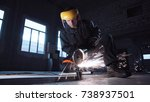 man wearing protective head... | Shutterstock . vector #738937501