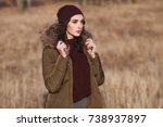 beautiful young  girl in her... | Shutterstock . vector #738937897