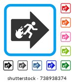 fire exit icon. flat grey...