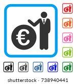 euro economist icon. flat grey...