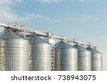 modern agricultural silos or... | Shutterstock . vector #738943075