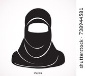 muslim woman  stylized vector... | Shutterstock .eps vector #738944581